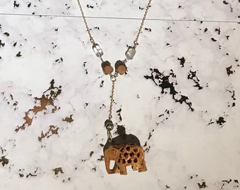 Hand Carved Elephant Pendant on Gold Chain with beads