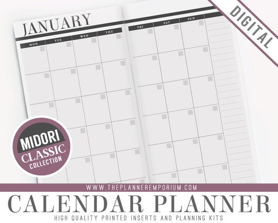 picture relating to Midori Traveler's Notebook Printable Inserts identified as Midori Calendar Inserts - Common Assortment - Midori