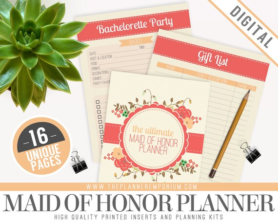 photo about Maid of Honor Printable Planner titled Supreme Maid of Honor Wedding ceremony Planner Organizer Package