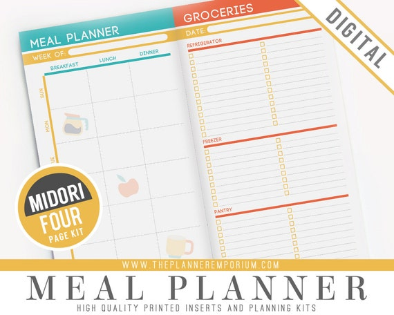 photo relating to Midori Traveler's Notebook Printable Inserts identify Midori Dinner Planner Inserts - Suits Midori Vacationers