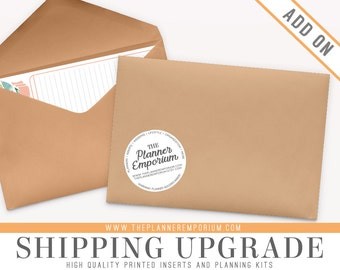 Shipping Upgrade Add-On for Printed Planner Inserts - Add Tracking & Insurance - Domestic, U.S, International Available - Packages Parcels