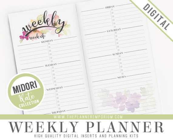 photo relating to Midori Traveler's Notebook Printable Inserts titled Midori Weekly Planner Inserts - KATE Selection - Midori