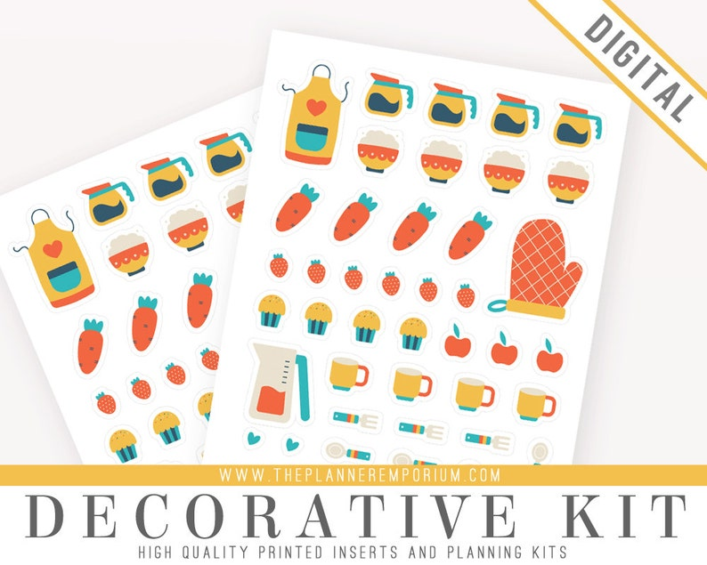 picture relating to Printable Sticker Sheets referred to as Ornamental Sticker Sheet Printable for Dinner Planners - Adorable Food items Icons Stickers Espresso Fruit - For Kikki K Filofax Erin Condren Planners