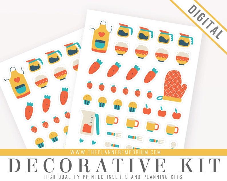 photograph regarding Printable Sticker Sheets named Ornamental Sticker Sheet Printable for Dinner Planners - Lovely Foods Icons Stickers Espresso Fruit - For Kikki K Filofax Erin Condren Planners