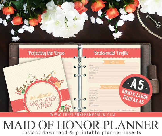 image about Maid of Honor Printable Planner referred to as A5 Final Maid of Honor Wedding day Planner Organizer Package