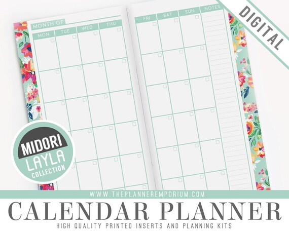 photo regarding Midori Traveler's Notebook Printable Inserts named Midori Calendar Planner Inserts - LAYLA Selection - Midori