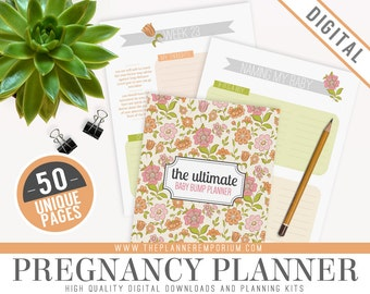 Ultimate Pregnancy Baby Bump Planner Organizer Kit - Instant Download - Printable DIY - 50 Unique Pages - Checklists, Weekly Diary and More!