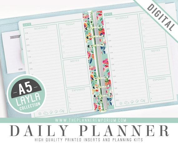 a5 daily planner inserts layla collection fits kikki k large