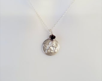 Sterling Silver Angel Cherub Pendant 17 mm with Sterling Silver Chain 16 Garnet and pearl drop