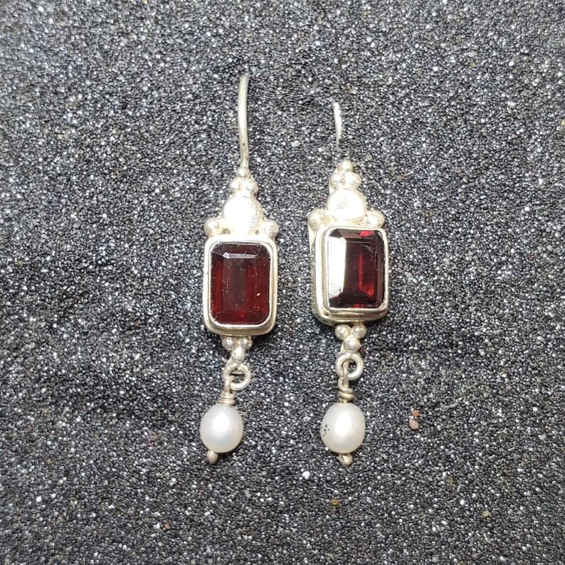 Garnet Sterling Silver Earrings French Hook