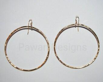 Basic hammered hoop earrings