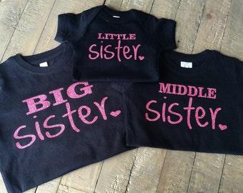 Big Sister, Middle Sister, Little Sister Shirt Set