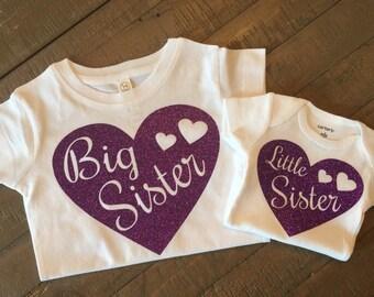 Big Sister Little Sister Heart Shirt Set