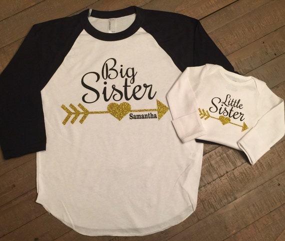 Big sister Little Sister Shirt Set - 3/4 Sleeve Raglan Shirt and Long  Sleeve Body Suit - Dual Color - Arrow Design