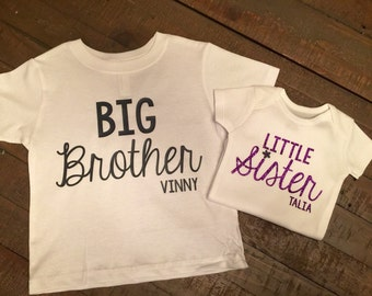Big Brother Little Sister Shirt Set - with customizable lettering color