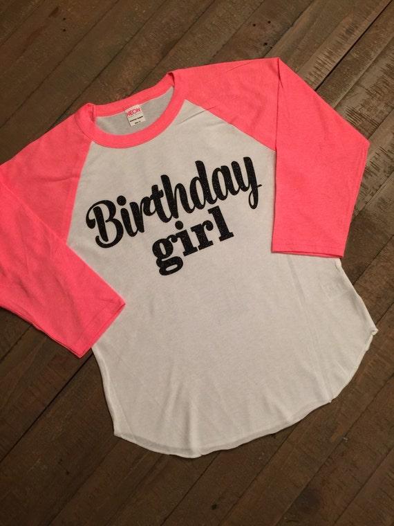 Girls Birthday Shirt 3 4 Sleeve Neon Pink Raglan