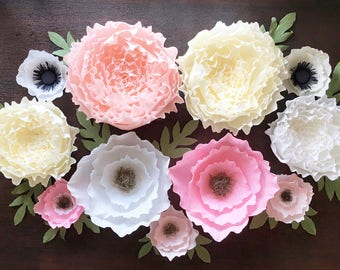 Peony And Assorted Crepe Paper Flower Set Nursery Wall Decor Etsy