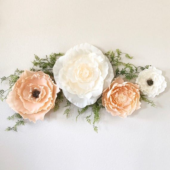 Peach and Ivory Crepe Paper Flower Set
