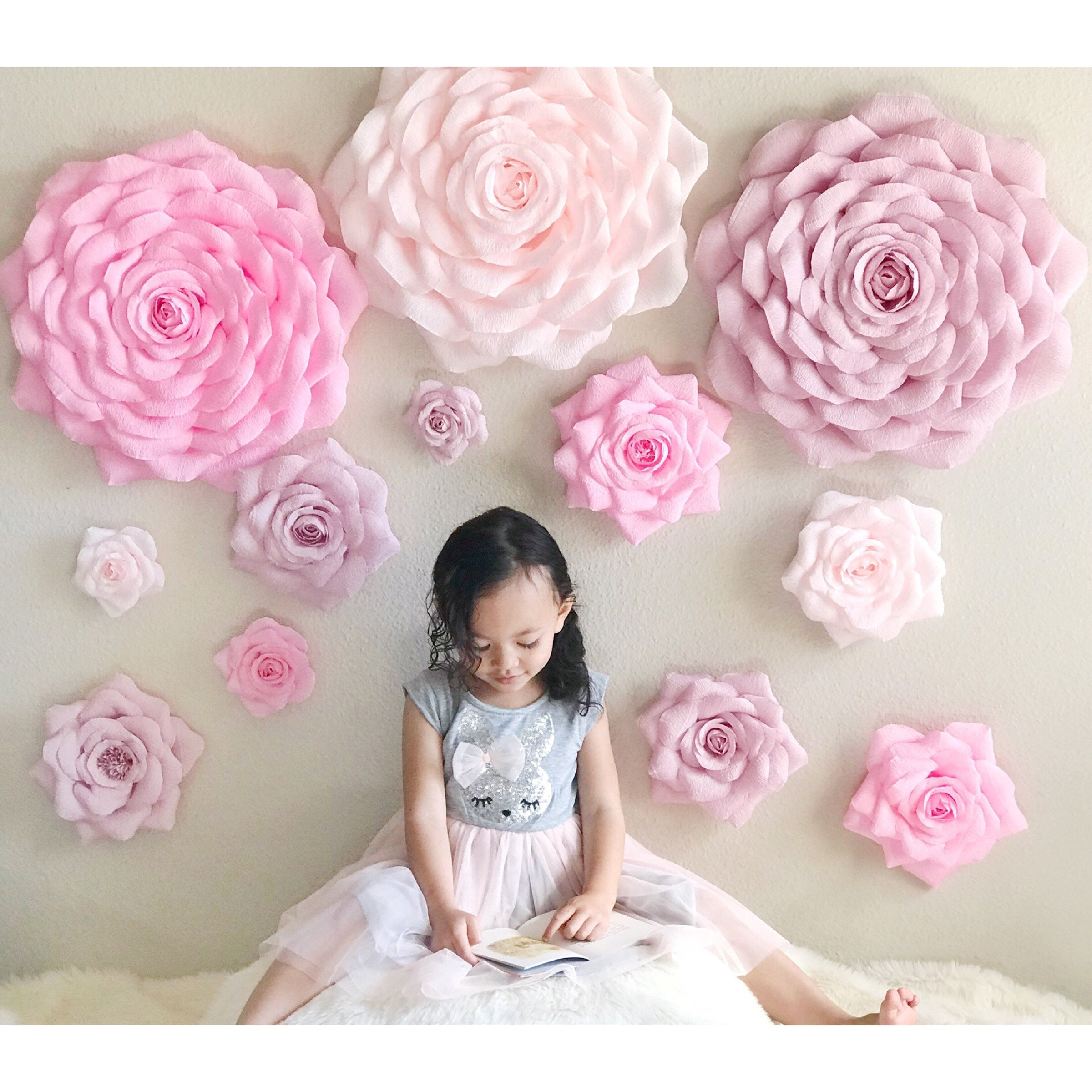 Crepe Paper Rose Backdrop Large Paper Flowers Nursery Wall Etsy