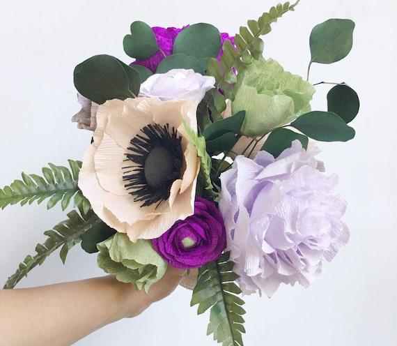 Crepe paper flower bouquet-Paper Flower Wedding Bouquet-Boho Flower Bouquet-Floral Centerpieces-Boho Decor