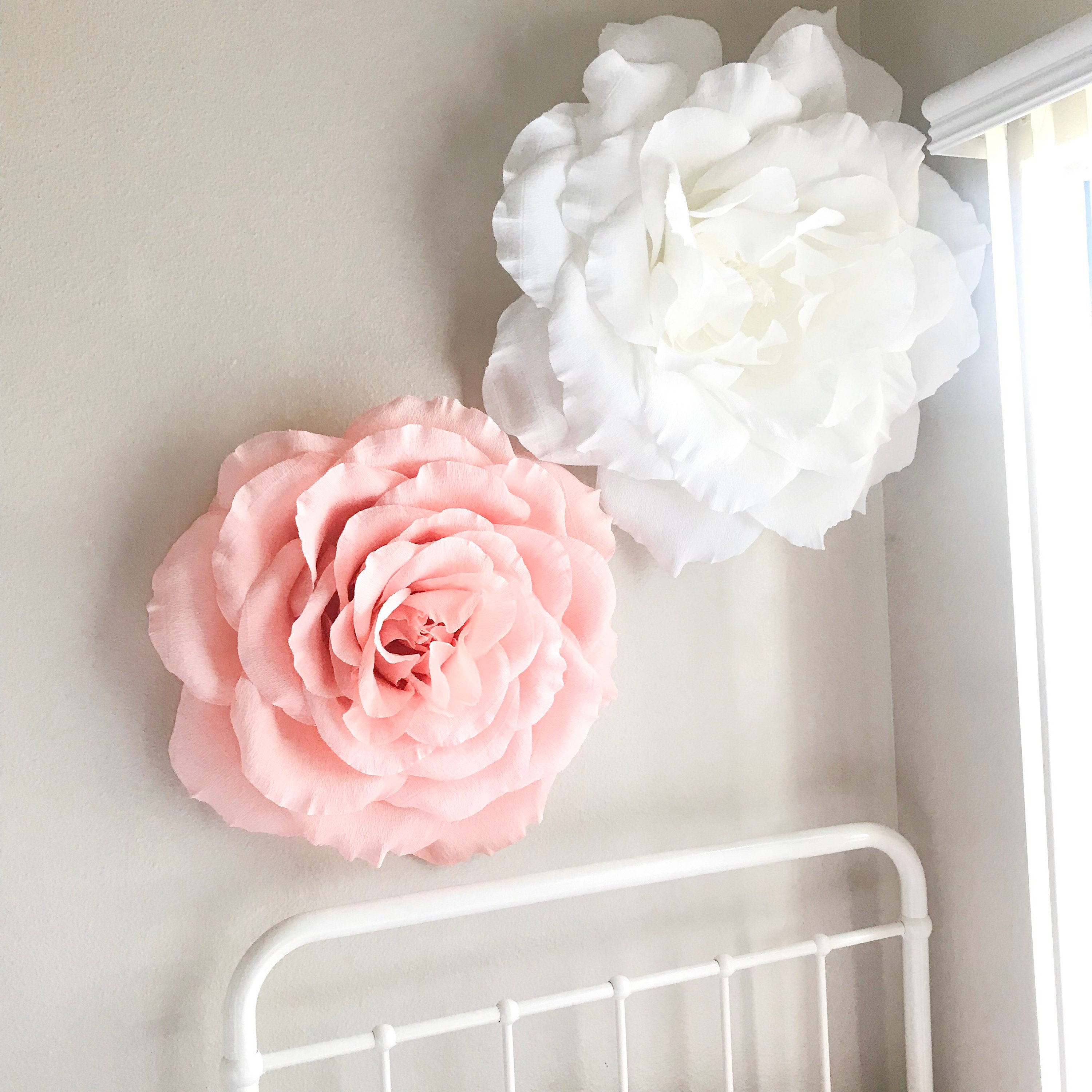 Giant Paper Rose Crepe Paper Rose Paper Flowers Nursery Wall Etsy