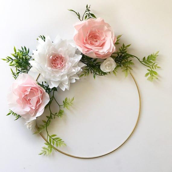 Paper Flower Wreath- Gold Hoop Wreath- Crepe Paper Flower Wreath- Modern Wreath-Nursery Decor-Floral Nursery Decor-Boho Nursery Art