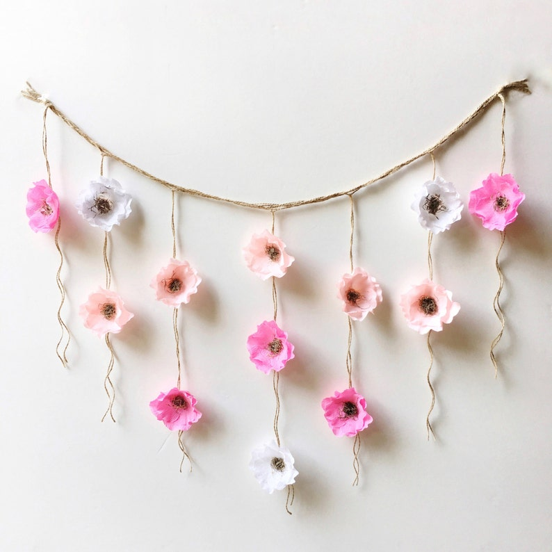 Crepe Paper Flower Wall Hanging