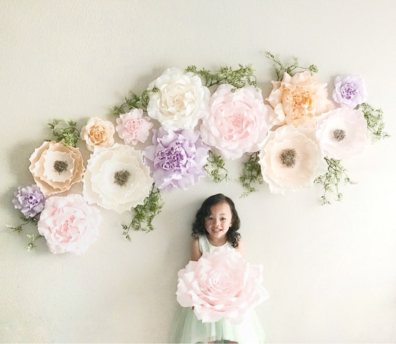 Crepe paper flowers- paper roses and peonies set- Paper Flower Wall-Giant Paper Flowers -Floral Nursery - Boho Nursery Decor