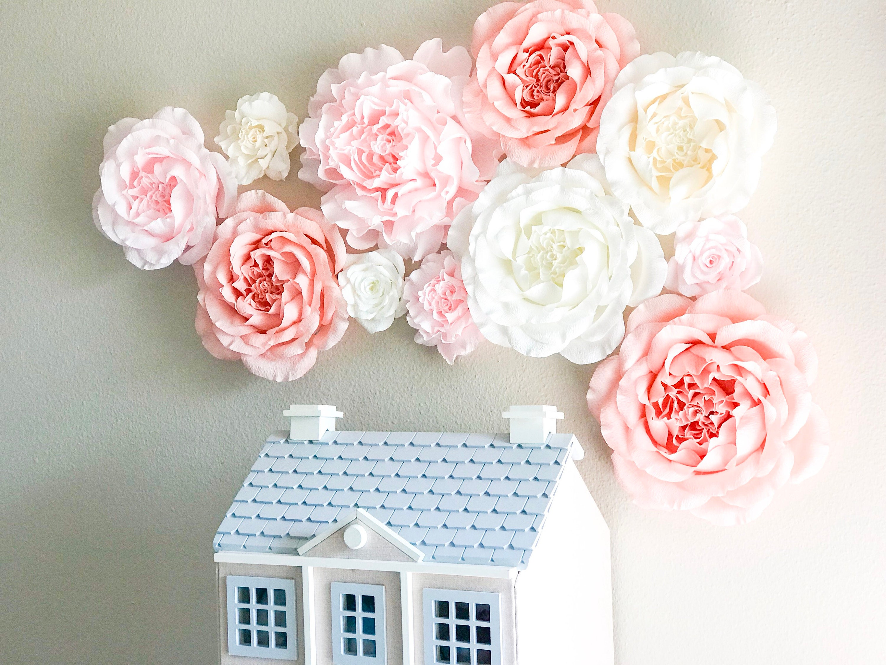 Paper Flower Backdrop Paper Ranunculus Paper Peonies Paper Roses Nursery Wall Flowers Girl S Room Decor Floral Nursery Dollhouse Decor