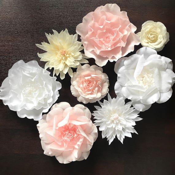 Rose Dahlia Krepp Papier Blume Set Kinderzimmer Wand Etsy