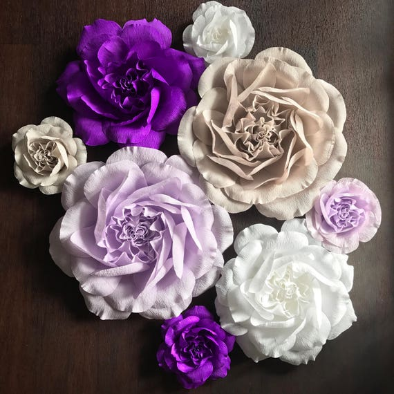 Large Paper Flowers - Paper Flower Wall - Crepe Paper Rose Wall Flower Set - Paper Rose Backdrop - 3D Paper Flowers-Purple Paper Flowers
