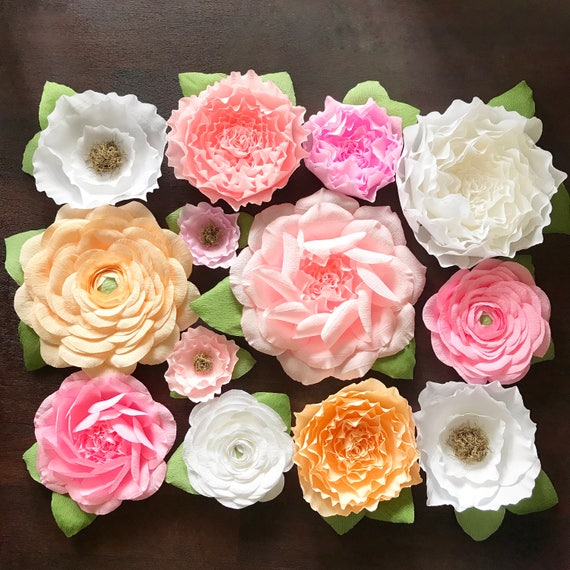 Assorted Crepe Paper Flower Backdrop Set-paper flower backdrop-wedding decoe-baby shower decor-photobooth backdrop-floral decor