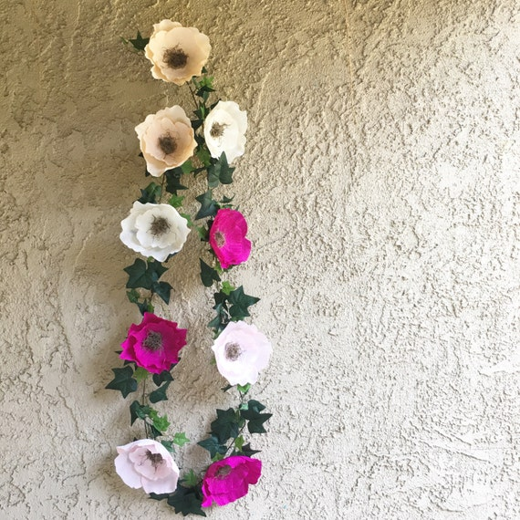 Paper Flower Garland Ivy And Flower Garland Floral Garland Crepe Paper Flower Garland For Decorating
