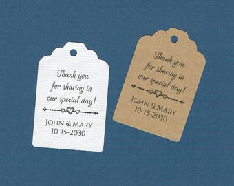 Wedding Tags, Set of 50, Thank You For Sharing Tags, Printed Tags, Wedding Shower Tags, Tags, Wedding Favor, Thank You Tag