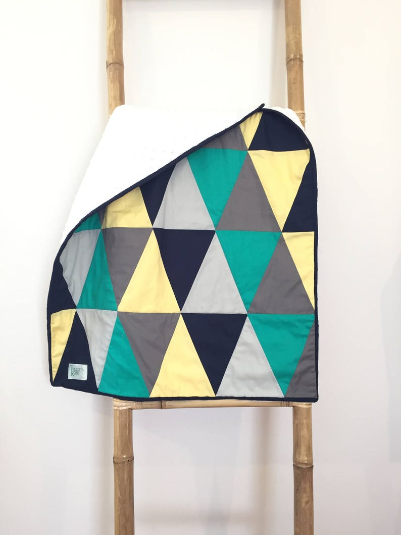 Quilt  Green Grey Yellow Triangles image 0