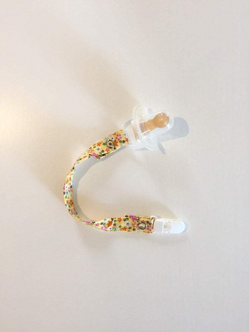 Dummy/Pacifier Clips  Yellow Floral image 0