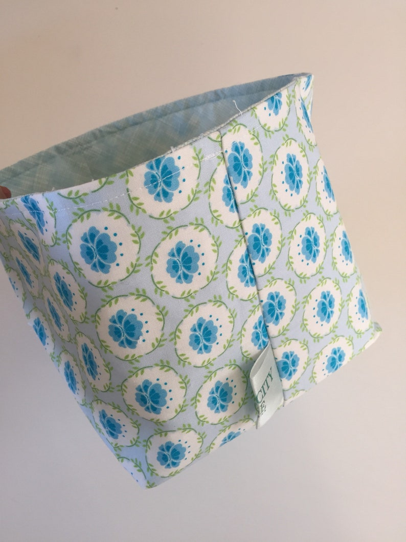 Fabric Bin  Blue Flowers image 0