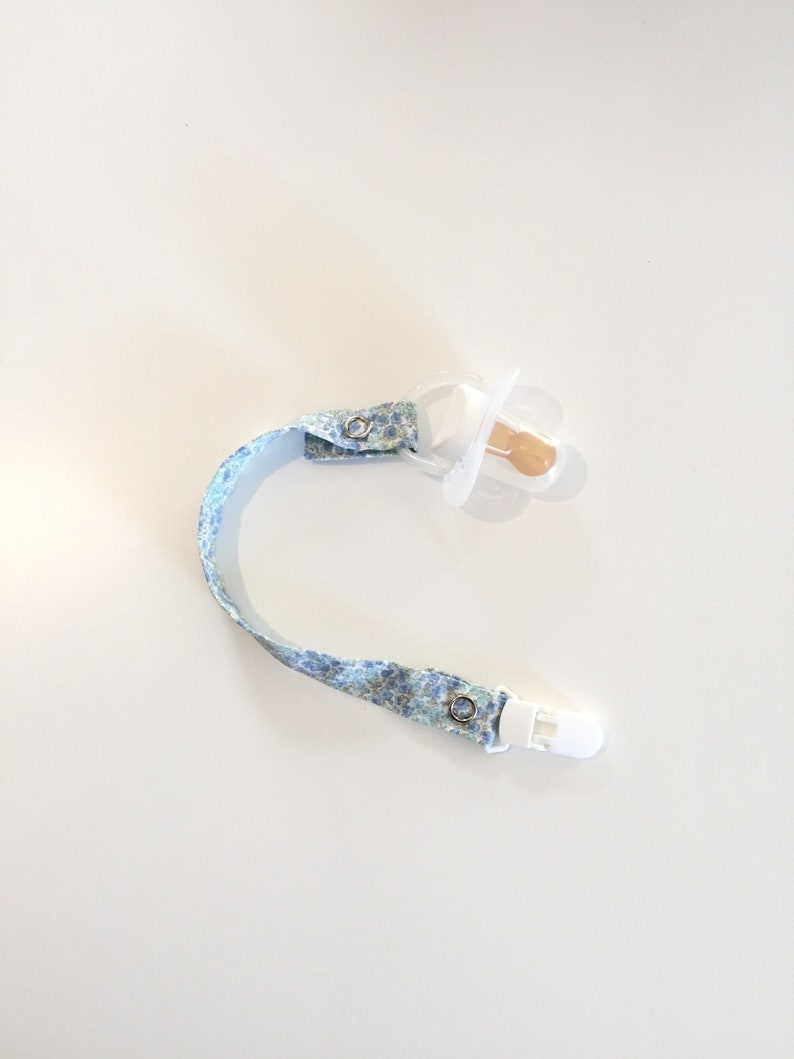 Dummy/Pacifier Clips  Blue Floral image 0