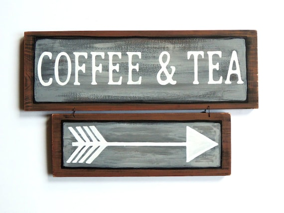 coffee and tea sign coffee signs tea signs kitchen decor | etsy