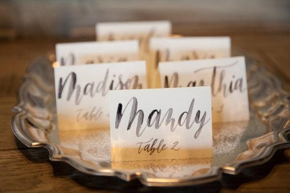 Mass Moderne Kalligraphie Hochzeitskarten Tischkarten Fur Etsy