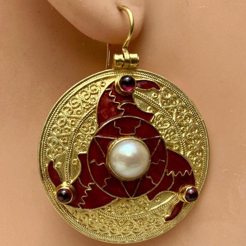 Sutton Hoo Triskelion Pearl and Garnet Earrings