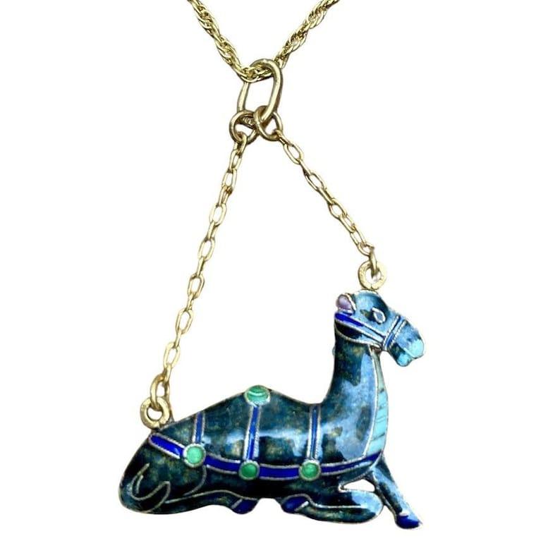Vintage Shashi Midnight Blue Camel Necklace