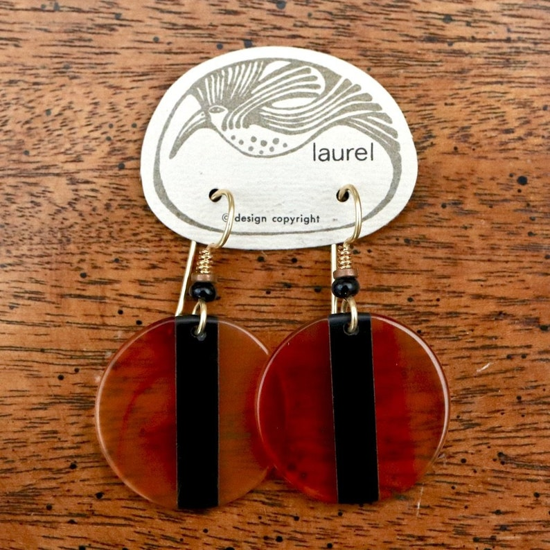 Vintage Laurel Burch Amber and Black Lucite Round Gold-Plate Dangles