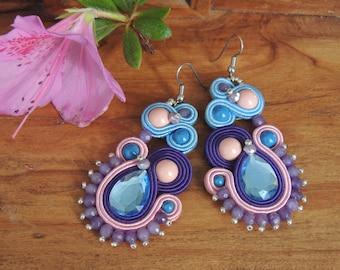 Purple light blue pink soutache earrings