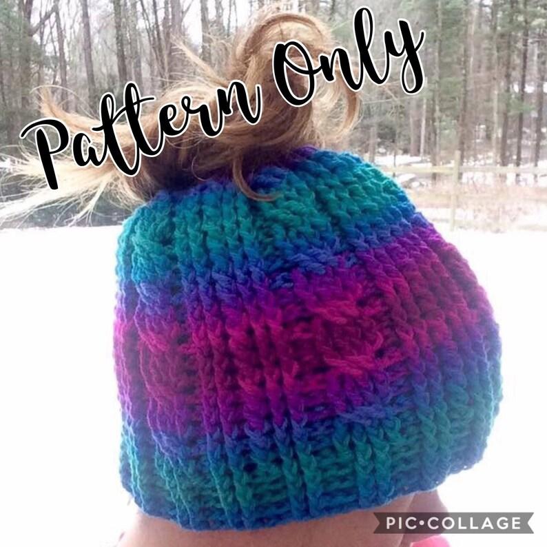PATTERN ONLY Messy Bun Hat PATTERN Crochet Messy Bun Hat Crochet Ponytail Hat Ponytail Hat Winter Messy Bun Winter Hat Crochet Hat