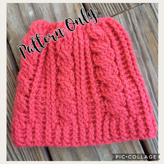 PATTERN ONLY Messy Bun Hat Cable Messy Bun Cabled Hat  dc0c0b6fbfa