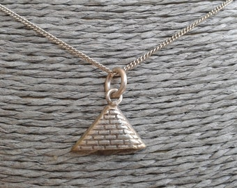 Silver Egyptian Pyramid Pendant and Chain