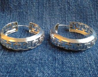 Sterling Silver Greek Key Earrings