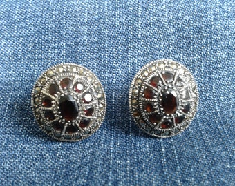 Silver, Garnet and Marcasite Earrings