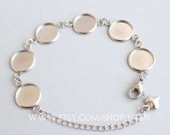 5pcs 8-25MM stainless steel bracelet Base Round Setting, bracelet blank,Bezel bracelet blanks, Blank Bezel Link Photo Charm Bracelet